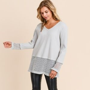 DOE & RAE Pointelle Layered Lace  Gray Sweater NWT